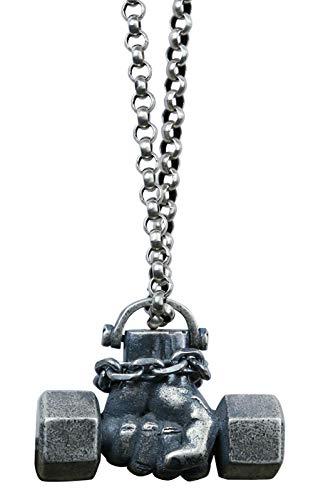 CHXISHOP 925 Sterling Silber Hantel Faust Anhänger Halskette, Power Fist Silber Schmuck Männer und Frauen Schlüsselbein Kette Kreativ Sterling Silber Anhänger Silber Kette 80 cm