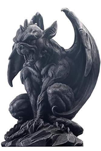 JORAE Winged Gargoyle Statue Outdoor Decor Sitting Guardian Sculpture Halloween Figurines, 9 Inch, Polyresin