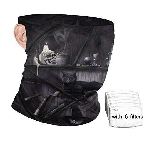 Wicca Wiccan Black Cat Altar Ritual Supplies Tool Reusable Dust Filter Mask Cloth Bandana Scarf Face Nose And Mouth