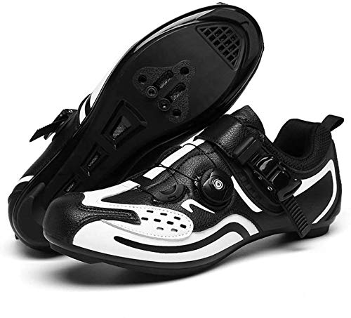 KUXUAN Zapatillas de Ciclismo para Hombre, Cordones de Zapatos Giratorios con Tacos Compatibles Peloton, con Velocidad y Delta,C-39EU=(245mm)/6UK/7US