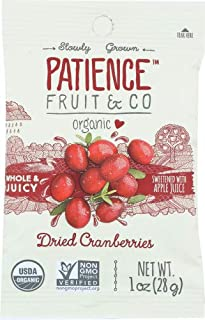 Patience Fruit & Co. Organic Dried Cranberries Fruit Snacks, 1 Ounce (Pack of 7)
