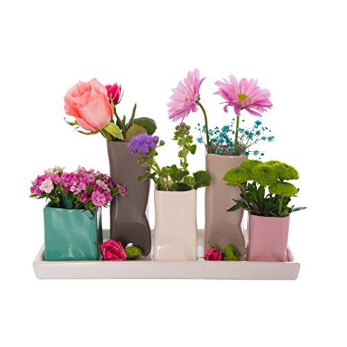Jinfa Handgefertigte kleine Keramik Deko Blumenvasen Set aus 5 Vasen in bunt