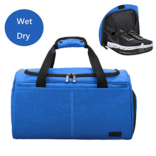 MarsBro Water Resistant Sports Gym Travel Weekender Duffel Bag with Shoe Compartment (35L Blue)