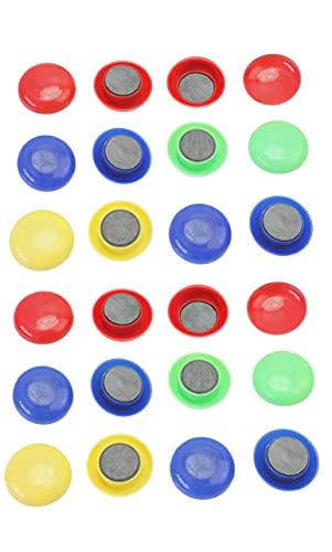 Calamite Rotondi per Decorazioni, 20 x 8mm, Resina Fun Decorativa per Ufficio, Calendari, Lavagne, Maps, Magneti per Il Frigorifero, Colorati, 24 pezzi