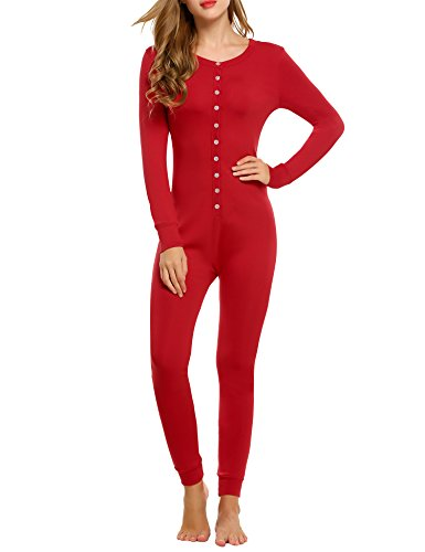 Hotouch Women's Thermal Top & Bottom Set w Microfiber Fleece Lining Red M
