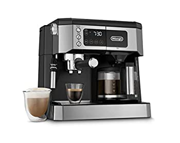 De Longhi All-in-One Combination Coffee Maker & Espresso Machine + Advanced Adjustable Milk Frother for Cappuccino & Latte + Glass Coffee Pot 10-Cup COM532M