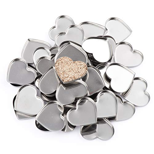 Allwon 56 Pack Empty Heart Shape Metal Pans for Eyeshadow Palette Magnetic Makeup Palette