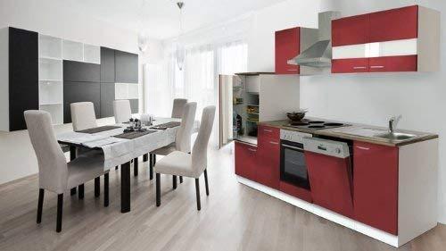 respekta Küchenzeile Einbauküche Küche Küchenblock 280 cm weiß rot KB 280 WR