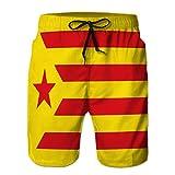 LJKHas232 Shorts de Playa para Hombre, bañador Tipo Tabla Bandera de estelada Rojo cataluña de españa XXL