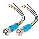 Gebildet 2 Piezas 16mm Enclavamiento Pulsador de Botón Metálico Interruptores Acero Inoxidable Impermeable Plana Top ON/Off 12V-24V 5A Pulsador con Enchufe de Cable(LED Verde)
