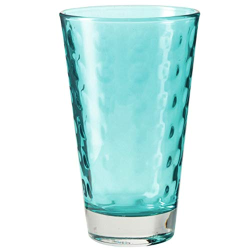 Leonardo Optic Trink-Gläser, 6er Set, spülmaschinengeeignete Wasser-Gläser, bunte Trink-Becher mit Muster, Saftgläser-Set, Türkis, 300 ml, 018009