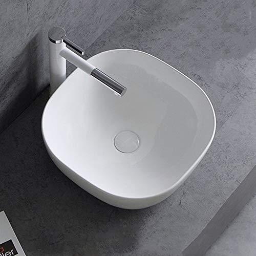 yaunli Lavabo Redondo de cerámica Cuadrado de la Esquina Lavabo Lavabo sobre encimera Lavabo del Arte Home Hotel Lavabo Lavabo de cerámica Cubierta (Color : White, Size : 42.5x42.5x14cm)