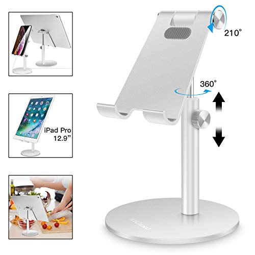 AICase Tablet/Phone Stand, Universal Adjustable Aluminum Desktop Stand, for New iPad 2018 Pro 10.5/9.7/12.9, Air mini 2 3 4, Samsung Tab, Other Smartphones and Tablets (4-12.9 inch) - Silver