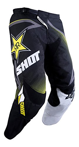 SHOT - Pantalón Cross Contact Réplica Rockstar 3.0, Negro, Blanco y Amarillo, Talla 28 Us