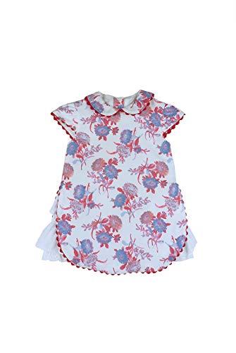 Foque - Vestido Blanco con Estampado Floral en Tonos Azules y Rojos. Manga Corta. Forro Interior. Cierre con Botones en Espalda. Hecho en España (18 Meses)