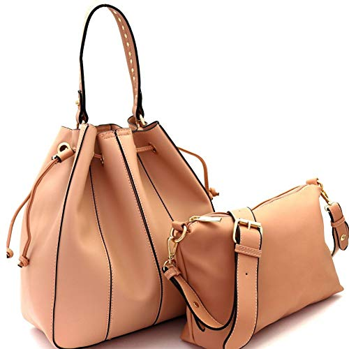 """Dimensions - 12.3""""L x 6""""W X 12.5""""H, 6,5""""drop handle1 optional adjustable shoulder strapFaux-leather materialGold-tone hardwareClosure - zipper and drawstringRemovable inner bag and small pouch included"""