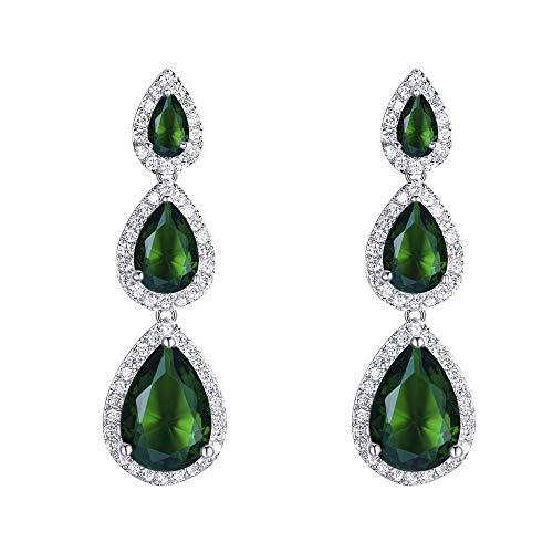 EVER FAITH Mujer Cristal Zirconia Cúbica 3 Lágrima Pendientes Colgante Verde Tono Plateado