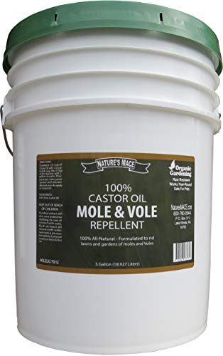 Nature's MACE Mole & Vole Repellent 5 Gallon Castor Oil Concentrate / Covers up to 100,000 Sq. Ft. / Keep Moles and Voles Out of Your Lawn and Garden / Safe to use Around Home & Plants Guaranteed