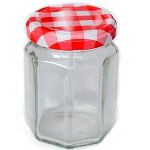 【ジャム140八角】赤白チェック ツイストキャップ満量140ml 【国産 日本製】 ガラス瓶 ハチミツ瓶 食品保存ビン