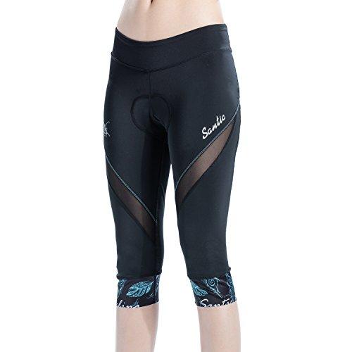 Santic AO DAI - Pantaloni da ciclismo da donna, imbottiti a 3/4, con seduta imbottita, Donna, Blu, S