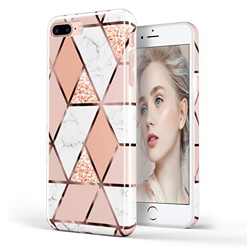 DOUJIAZ Schutzhülle für iPhone 7 Plus/8 Plus/6 Plus 6S Plus, kompatibel mit Glitzer, Marmor, transparent, glänzend, TPU, weiches Silikon, Silikon-Cover, Goldbraun