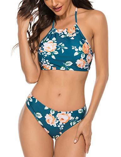 Naggoo Woman Floral Bikini Halter High Neck 2 Piece Swimsuits Push Up Teal Medium