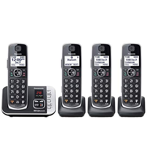 Panasonic KX-TGE663B + 1 KX-TGEA61B Total of 4 Handset Cordless Phone with Link to Cell Feature and Digital Answering Machine - Black - (KX-TGE664B)(Renewed)