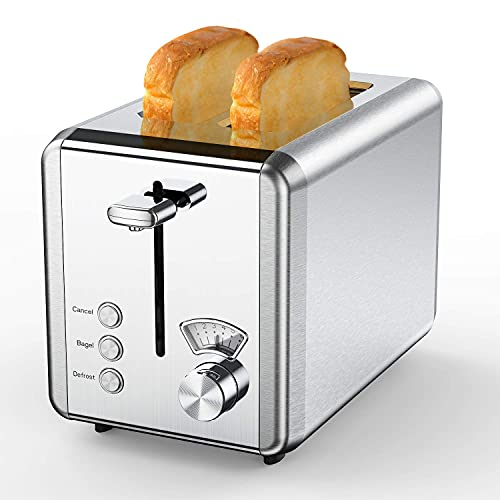 Toasters 2 Slice Best Rated Prime, whall Stainless Steel,Bagel Toaster - 6 Bread Shade Settings,Bagel/Defrost/Cancel Function,1.5in Wide Slots,Removable Crumb Tray,for Various Bread Types (850W)(Silver)