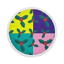 Manta de Toalla de Playa Redonda, Holly Berry, Patchwork, Esterilla de Yoga Circular Grande de Gran tamaño de 59 Inch con borlas de Flecos