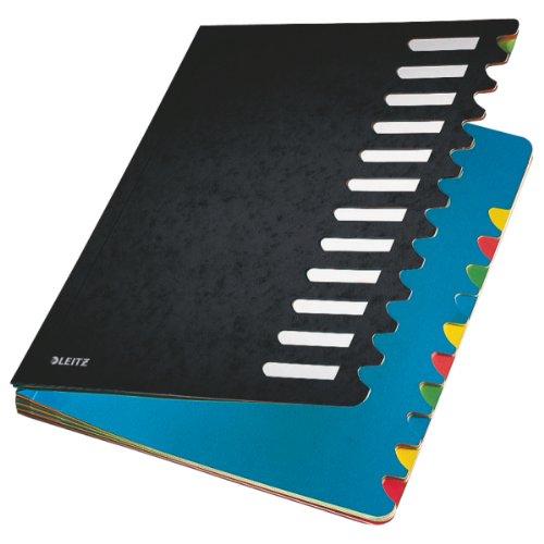 Leitz Pultordner, A4, 12 Fächer, Farbige Trennblätter, 3 Sichtlöcher, Karton, Schwarz, 59120095
