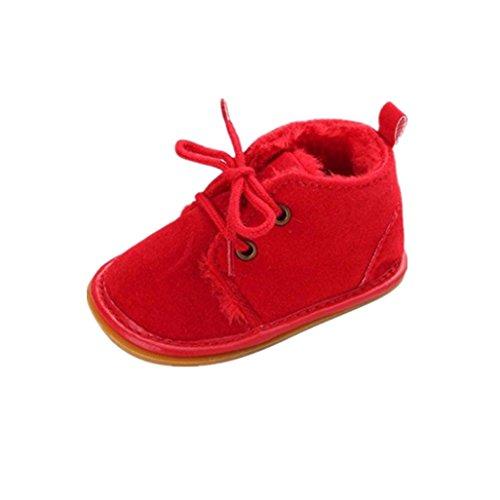 Auxma Zapatos de bebé, Bebé niño Infantil Nieve Botas Zapatos Suela de Goma Cuna Prewalker (12cm(6-12) Meses), Rojo