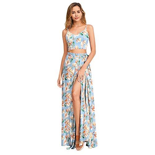 KUDICO Damen Zweiteiler Rock mit Crop Tops, Blumen V Ausschnitt Camisole Schnüren Ärmellos Bluse Petticoat Lang Röcke mit Schlitz(Blau,EU 40/CN XL)