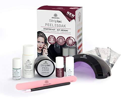 alessandro Striplac Peel or Soak Starter Kit – Perfekte Nägel in 15 Minuten – 1x LED-Nagellack Set inklusive Lampe & Striplac – Farbe: Velvet Red