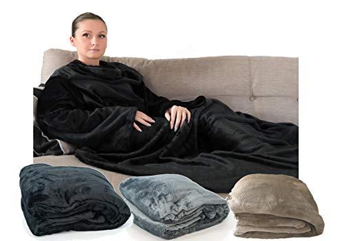 déliktess® - Couverture Polaire Toison avec manches - Plaid TV effet velours- 1 poche - couleur au choix (Noir - Gris ou Beige) - Produit Français (Noir)