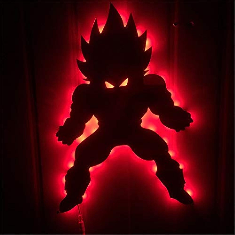 JWL 3D-Stereoskopische Leuchten Dragon Ball Vegeta Wall Lights LED Fernbedienung Farbe Nachtbeleuchtung Home Ambient Lights