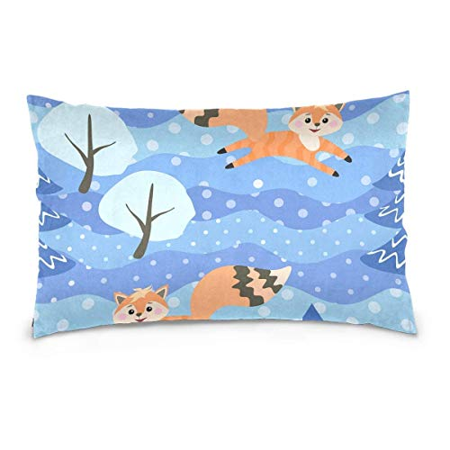 Pillow Cases Foxes Frolic In Winter Forest Throw Pillow Cover Cushion Case with Zipper Kissenbezug 50X76 cm