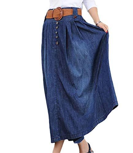 Mujer Faldas Falda Vaquera Elegantes Vintage Cintura Alta Falda Tamaños Cómodos Verano Fashion Anchas Informales Denim Ropa Falda Maxi Falda De Verano Azul (Color : Azul Oscuro, Size : L)