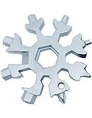 Rubyu 18 i 1 snöflinga multiverktyg rostfritt stål cykel multifunktionsverktyg bärbart verktygskort flasköppnare ringnyckel sexnyckelnyckel för utomhus EDC silver