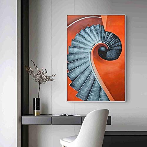 Zgzkmwsss Nordic Morden Porche Lienzo Pintura Carteles e impresión Cuadros de Arte de Pared para Sala de Estar Comedor contratado escaleras Mural 60X80cm sin Marco