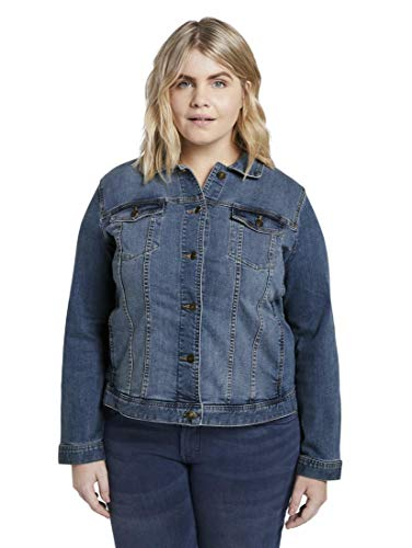 TOM TAILOR MY TRUE ME Damen Jacken & Jackets Jeansjacke im Washed-Look Blue Denim,46
