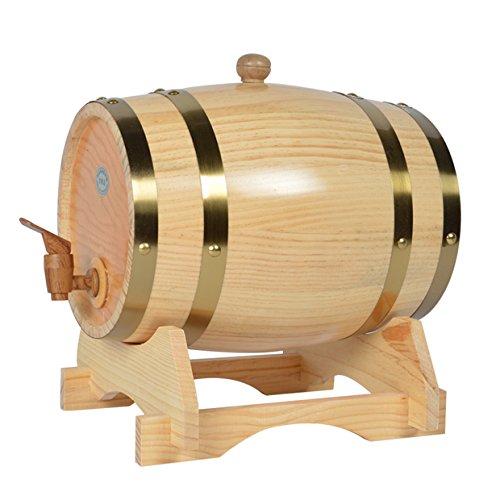Barril de madera de roble para almacenamiento o envejecimiento de vino y licores, de 1,5 a 20 l, Blanco, 3 L