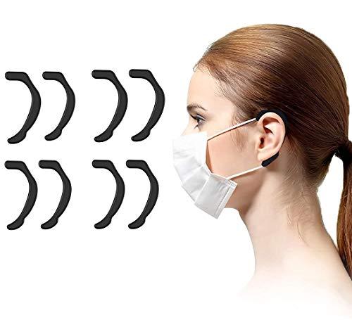 (4 Pairs) Black Mask Ear Protecting,Ear Protectors for Masks.mask Ear Protector.Ear Savers for Masks.Silicone Mask Ear Protectors Soft Reusable