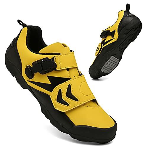 KUXUAN Zapatos de ciclismo para hombre y mujer, antideslizantes, para ciclismo, correr, ciclismo, ciclismo, ciclismo, ciclismo, ejercicio, fitness, amarillo, 270 mm = 44 EU