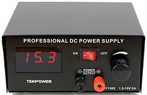 Tekpower HY-1502 DC Power Supply, 1.5-15 Volts @ 2 Amp for Tattoo and More