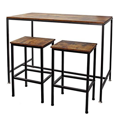 Mesa alta de bar con 2 taburetes Vintage 120x60x90cm, armaz�