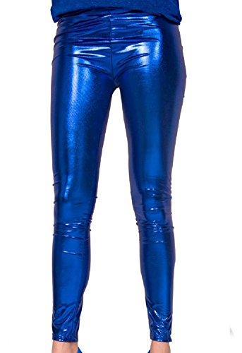 Folat 61718 -Legging Metallic, S-M, blau