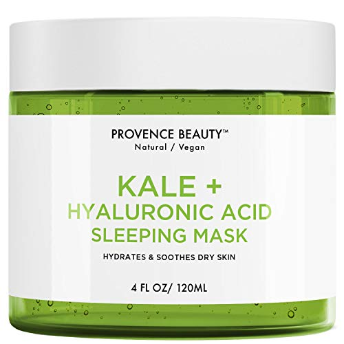 Kale and Hyaluronic Acid Gel Face Mask - Hydrating Face and Neck Moisturizer for Anti Aging, Wrinkle, Acne, Firming and Dry Skin - Organic Facial Mask for Women, Men and all Skin Types - 4 Fl Oz