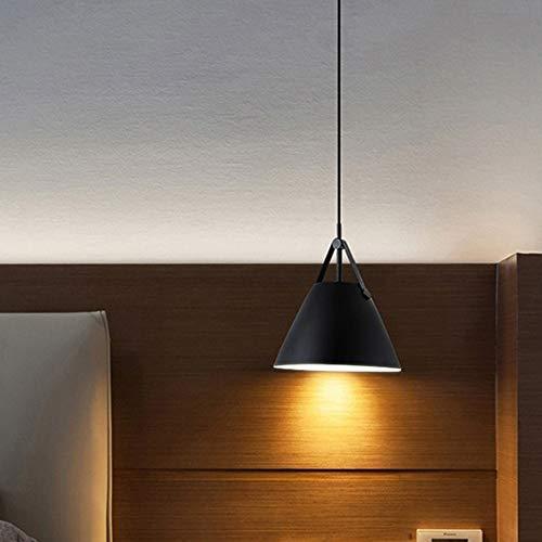CEILINGLIGHTKXPFR LED Nordic Moderne Simple Lampe Suspendue Creative Iron Art Pendentif Lumière Avec E27 Ampoule Parfait for Cuisine Salle À Manger (Couleur : Black-Warm White)