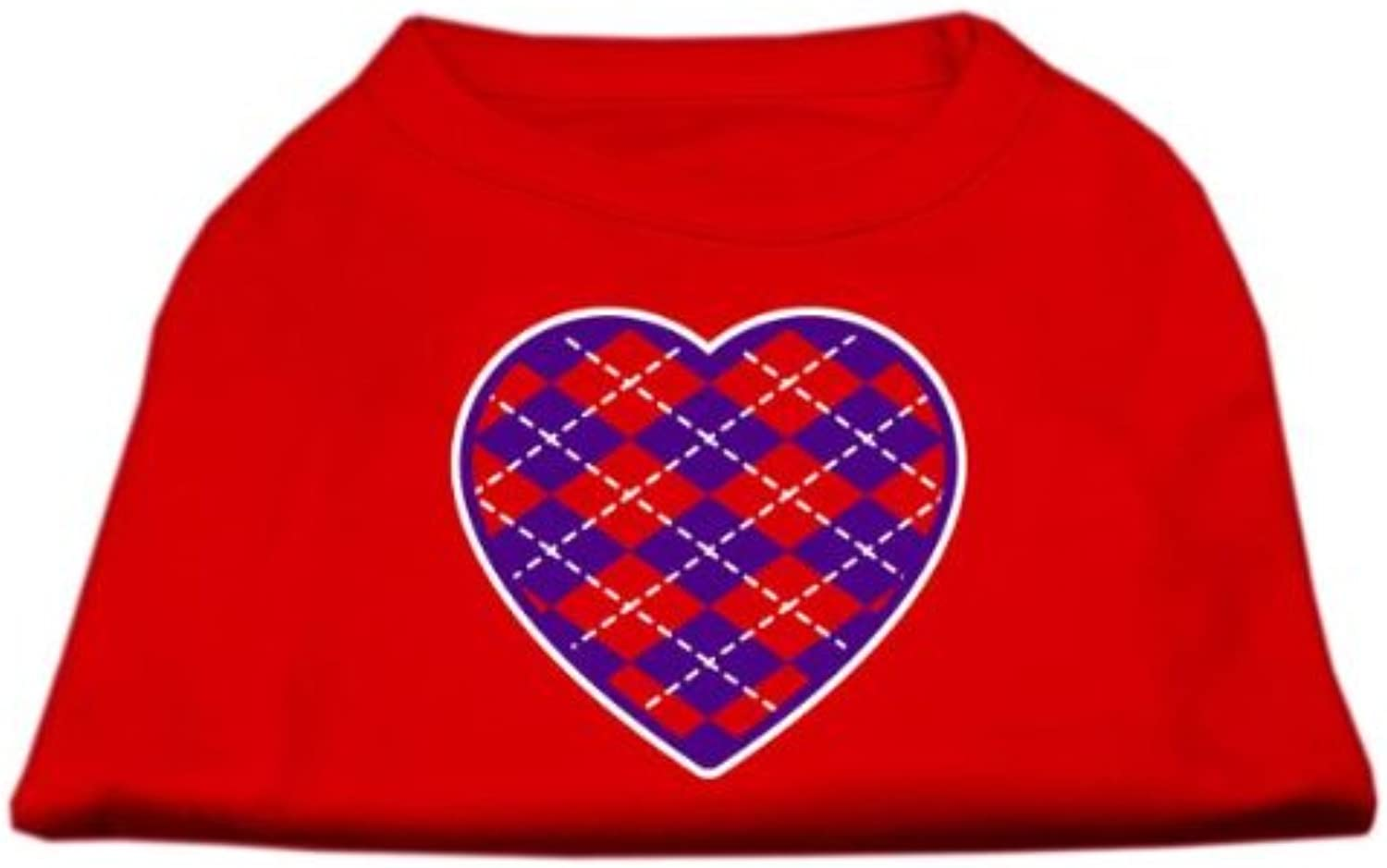 Mirage Pet Products Argyle Heart Purple Screen Print Shirt Red XS (8)