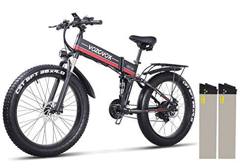 VOZCVOX Bicicleta Eléctrica Plegables, Bici Electricas Adulto con Ruedas de 26', Asiento Ajustable, con Pedales